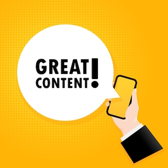 Ottimo contenuto. smartphone con una bolla di testo. poster con testo ottimo contenuto. stile retrò comico. fumetto dell'app del telefono.