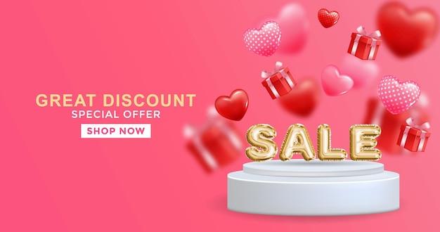 Grande sconto vendita banner design in 3d illustrazione su sfondo rosa vendita parola ballon sul podio
