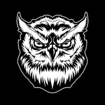 Grande stampa t-shirt testa di uccello gufo cornuto, mascotte animale