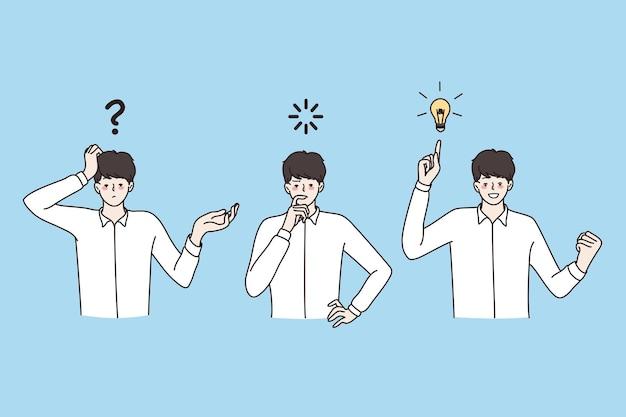 Grande idea, innovazione, concetto di strategia. giovane uomo d'affari positivo in piedi pensando e cercando il processo di idea nello sviluppo del business illustrazione vettoriale