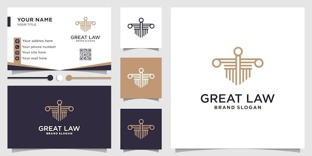 Ottimo modello di logo di legge per società di studi legali vettore premium