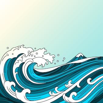 Grande illustrazione orientale di vettore dell'oceano dell'onda.