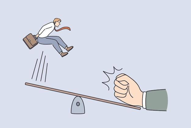 Ottimo inizio e concetto di innovazione. giovane uomo d'affari sorridente che salta dall'altalena con la mano umana che fa spingere da un altro lato illustrazione vettoriale
