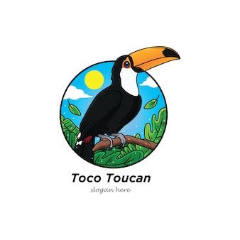 Uccello del fumetto di grande uccello tucano con foresta