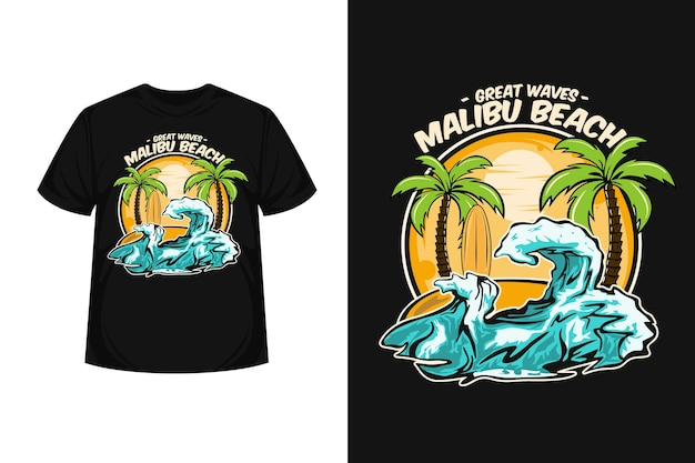 Grandi onde malibu beach illustrazione merchandising t-shirt design