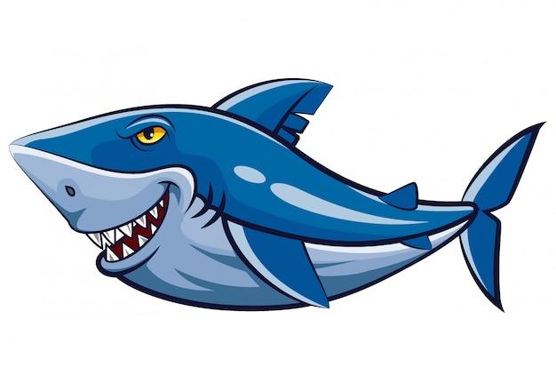 Grande mascotte dello squalo bianco dell'illustrazione