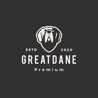 Illustrazione d'annata dell'icona di logo dei pantaloni a vita bassa del cane di greatdane