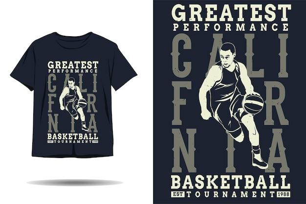 Il design della maglietta della silhouette del torneo di basket con le migliori prestazioni