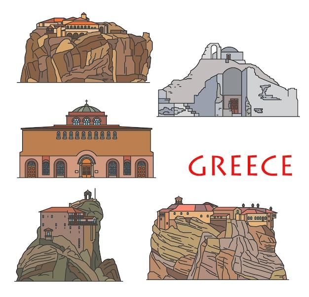 Templi e chiese di architettura della grecia, costruzioni greche antiche, vettore punti di riferimento di viaggio in grecia grande monastero di meteoron, panagia paraportiani a mykonos e chiesa di nicholas anapausas a kalambaka