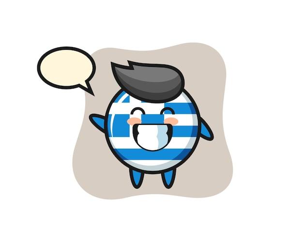 Personaggio dei cartoni animati del distintivo della bandiera della grecia che fa il gesto della mano dell'onda, design in stile carino per maglietta, adesivo, elemento logo