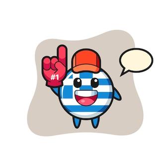 Fumetto dell'illustrazione del distintivo della bandiera della grecia con il guanto dei fan numero 1, design in stile carino per maglietta, adesivo, elemento logo
