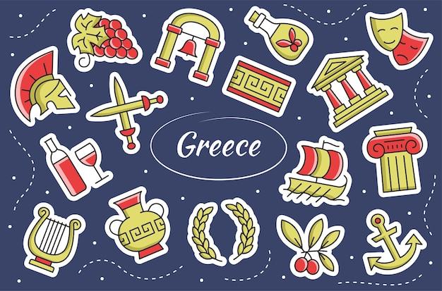 Grecia, cultura greca - set di adesivi. collezione di simboli.