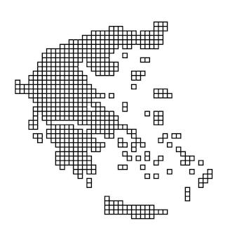 Siluetta della mappa della grecia dalla struttura del mosaico del reticolo nero dei quadrati. illustrazione vettoriale.