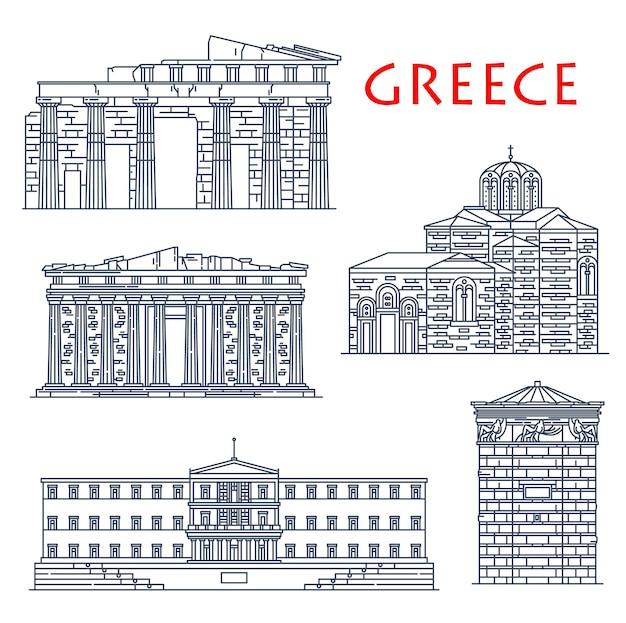 Punti di riferimento di viaggio in grecia, edifici di architettura di atene, visite turistiche vettoriali. partenone greco, parlamento di atene, torre dei venti o torre dell'orologio, porte dei propilei e chiesa di san nicola