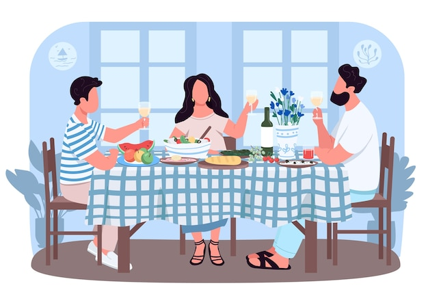 Cena greca per amici banner web 2d, poster. persone intorno al tavolo con bevande. personaggi piatti della famiglia sullo sfondo del fumetto. pranzo tradizionale in patch stampabile grecia, elemento web colorato