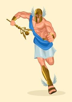 Serie di illustrazioni vettoriali di dio e dea greca, hermes, l'emissario e il messaggero degli dei