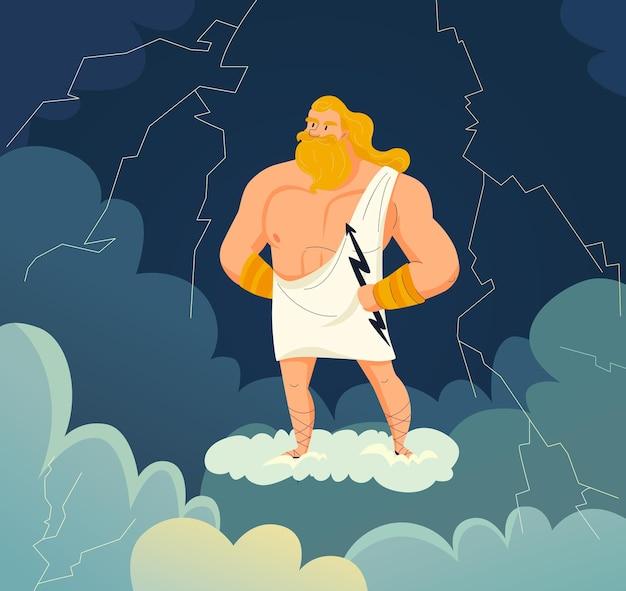 Dio greco del cielo e tuono zeus che tiene in mano un cartone animato di fulmini