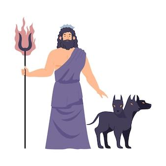 Dio greco degli inferi ade o illustrazione vettoriale piatto di plutone romano isolato