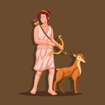 La dea greca artemide tiene in mano un arco con una figura di cervo illustrazione del personaggio della mitologia greca vettore