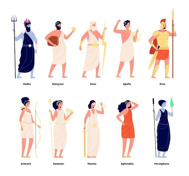 Dei greci. collezione di dea mitologia.