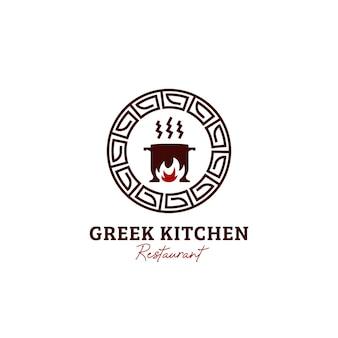 Icona del logo del ristorante di cucina greca Vettore Premium