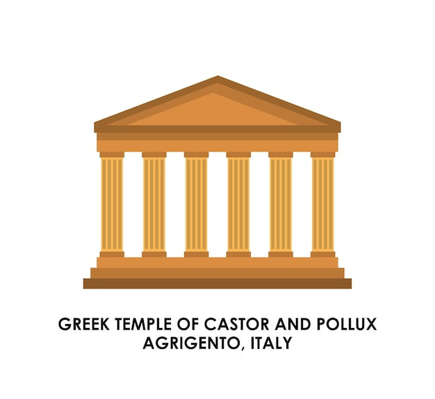 Icona del tempio greco. design della cultura italiana. grafica vettoriale