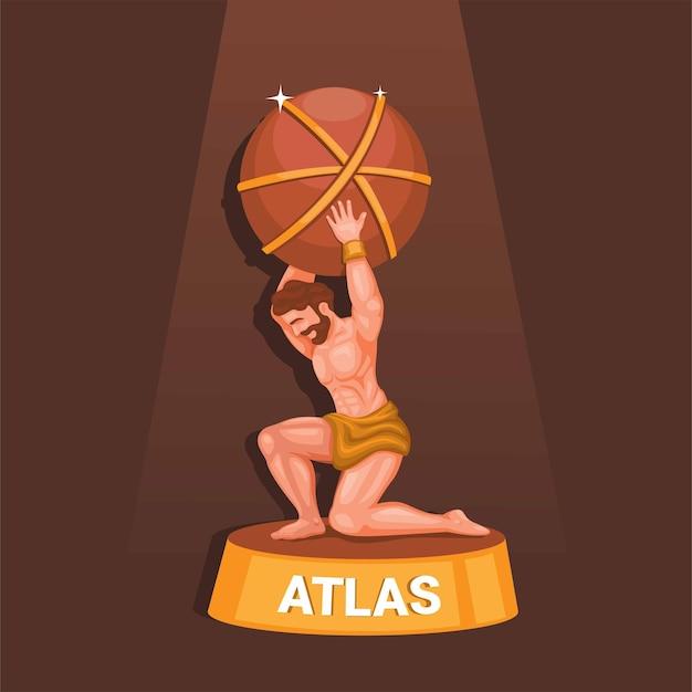 Il greco titan atlas che porta la statua del mondo figura mitologia greca simbolo illustrazione vettoriale