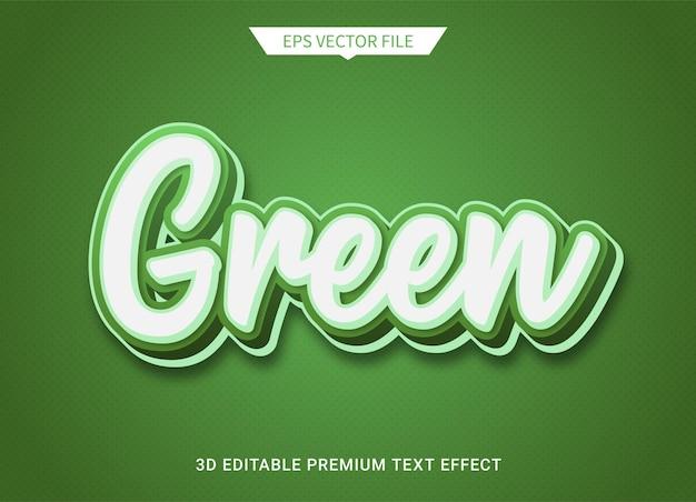 Vettore premium di effetto stile di testo modificabile 3d verde
