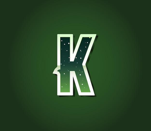 Carattere di fantascienza retrò anni '80 verde con lettere all'interno di stelle. alfabeto vettoriale