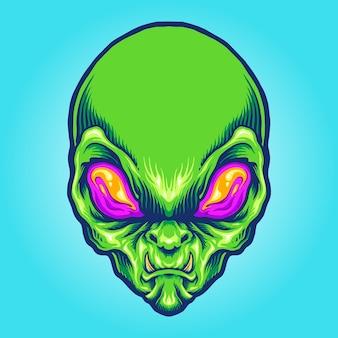 Mascotte arrabbiata testa aliena verde green