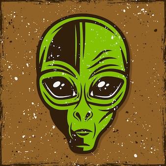 Illustrazione di testa aliena verde, t-shirt stampata in stile vintage