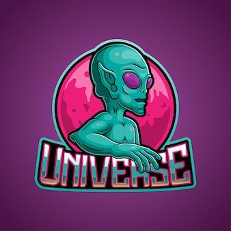 Illustrazione della mascotte logo alieno verde