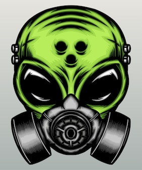 Alieno verde con maschera antigas.