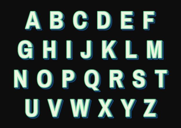 Set di alfabeti verdi