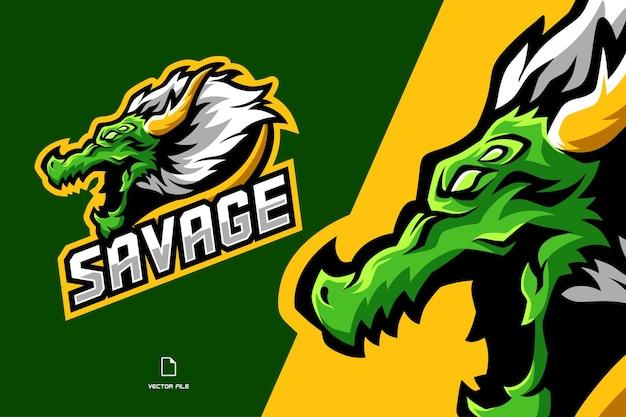 Illustrazione logo mascotte testa di drago arrabbiato verde, squadra di gioco esport, streaming