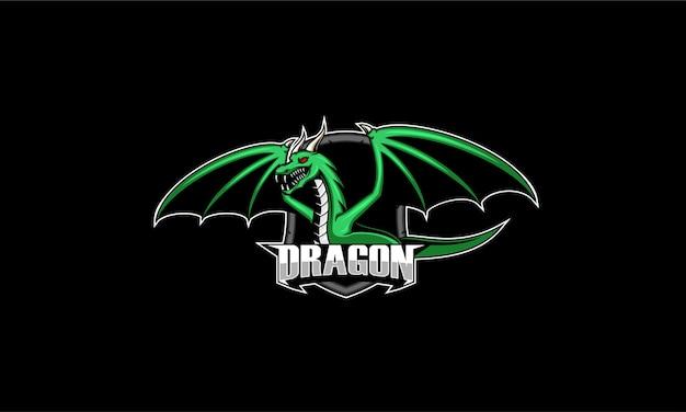 Mascotte drago arrabbiato verde