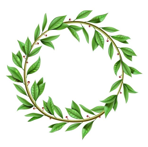 Corona di alloro vincitore vintage realistico antico verde. modello isolato