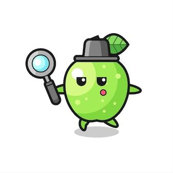 Personaggio dei cartoni animati di mela verde che cerca con una lente d'ingrandimento, design in stile carino per maglietta, adesivo, elemento logo