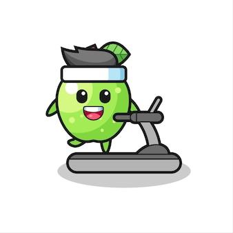 Personaggio dei cartoni animati di mela verde che cammina sul tapis roulant, design in stile carino per maglietta, adesivo, elemento logo