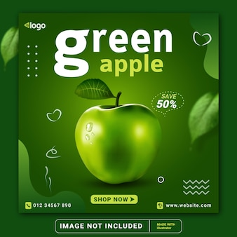 Green apple fruits social media instagram post banner modello o volantino quadrato