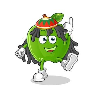 Fumetto del ragazzo reggae mela verde. vettore della mascotte dei cartoni animati