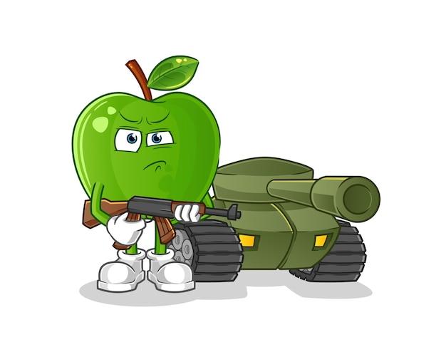 Soldato di mela verde con carattere di carro armato