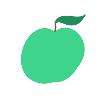 Stile semplice del fumetto dell'illustrazione di vettore della mela verde