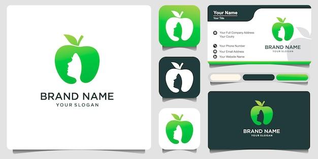 Mela verde con bella donna e biglietto da visita.logo adatto per la progettazione di dieta, nutrizionista.logo design illustrazione vettoriale