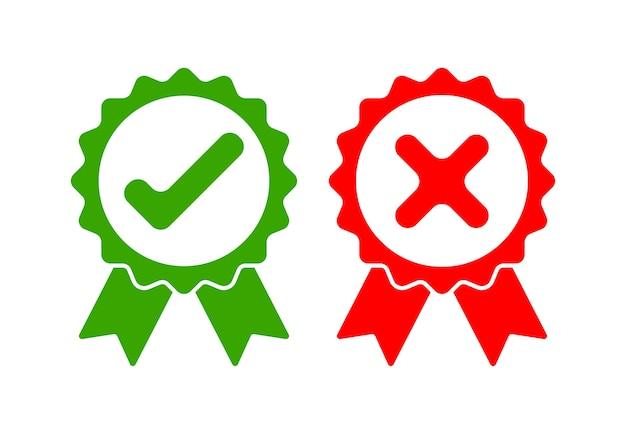 Icone approvate verdi e rosse rifiutate isolate su bianco