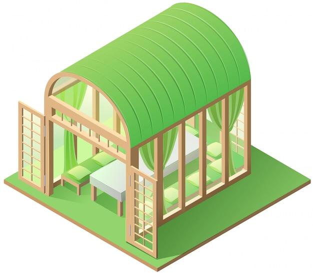 Bianco isolato icona isometrica della casa estiva verde del supporto conico