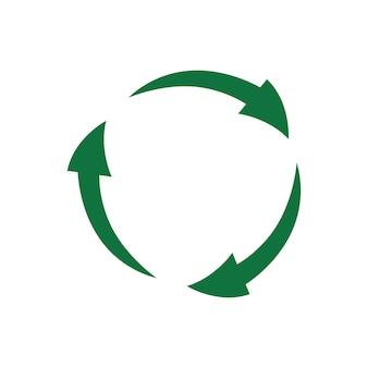 Freccia verde, simbolo di riciclaggio di fondi ecologicamente puri