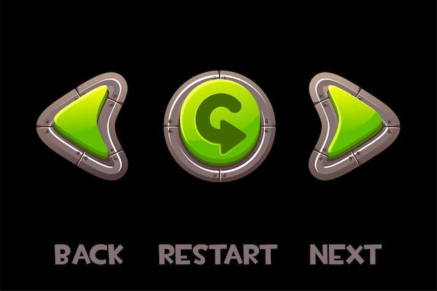 Bottoni e scritta verde indietro, avanti, ritorno