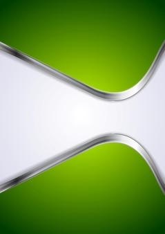 Sfondo verde con onde metalliche astratte. disegno vettoriale