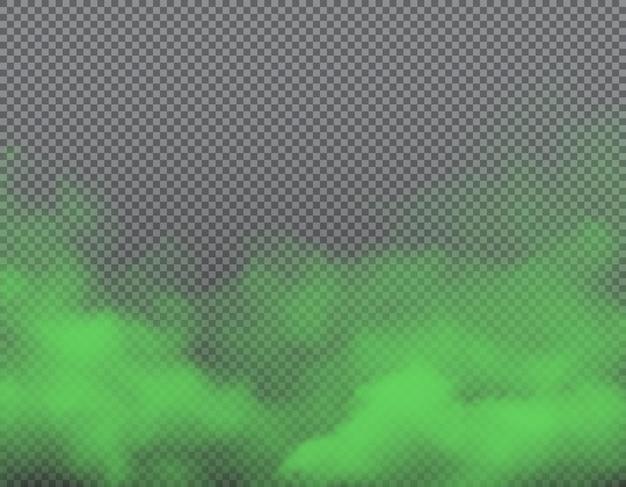 Nuvole realistiche di cattivo odore verde di puzza, fumo Vettore Premium